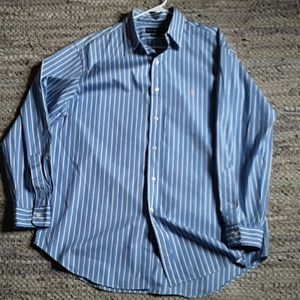 Other - Blue and white striped Polo Dress shirt